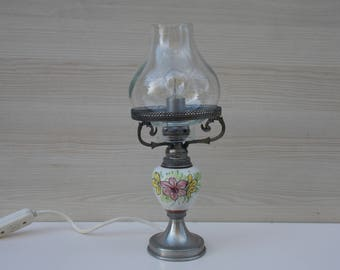 Metal oil lamp etsy vintage oil style lamp desk lamp table lamp retro lamp white lamp mozeypictures Image collections
