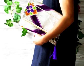 "Kimono obi bag/ Vintage Japanese kimono clutch ""Silver Purple"" /Evening purse/Vintage Japanese purse/Silk carry bag"