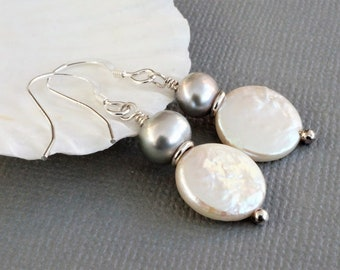 Freshwater pearl earrings, silver grey and white pearl earrings, sterling silver and pearl earrings, white coin pearl earrings