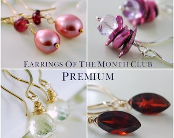 Premium Earrings of the Month Club, Six Month Subscription, Sterling Silver, Gold, Gemstone Pearl Jewelry, Free Shipping