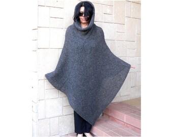 Women Poncho Cozy Loose Fit Mohair Alpaca Wool Oversize Loose Big Cowl Neckline Hood #036D