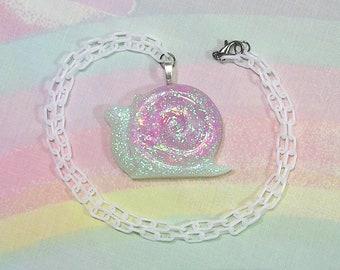 Fairy Kei Necklace, Kawaii Snail Necklace, Pop Kei Necklace, Decora Necklace, Glitter Necklace, Kawaii Necklace, Creature Necklace