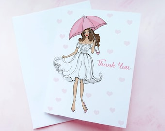 Pink thank you cards bridal shower thank you cards, Shower thank you cards wedding, Cute thank you cards, Personalized thank you cards