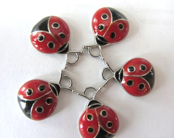 Set of 5 Red and Black LADYBUG Charm Pendants
