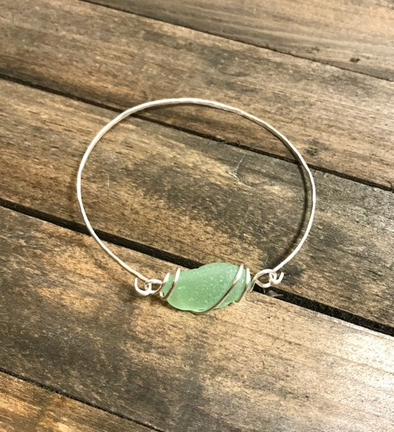 Sea Foam Green sea glass hammered bangle bracelet-silver filled