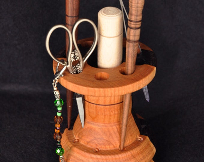 Hand made stitchery accessories holder/stand ( made from mix wood cherry& walnut)