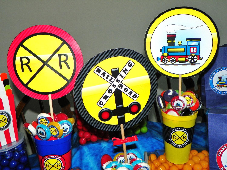 Train Party Centerpiece Picks 3 Kids Theme Birthday