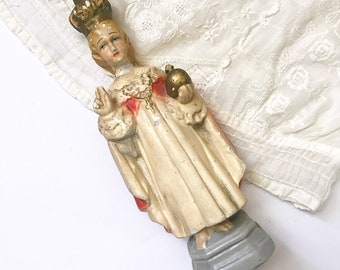 Perfectly worn vintage Infant of Prague chalkware statue | Catholic figure | Jesus | Saint