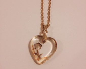 Czech Glass Heart With Engraved Flower Necklace