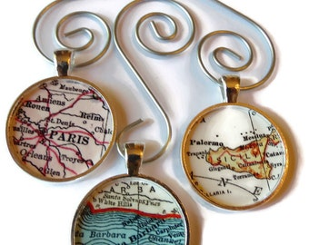 Custom Map Ornament Charms, Husband Gift, 3 map ornaments personalized with your locations, Father Gift Idea, Gift for Him, Holiday Gift