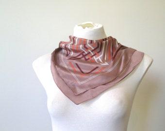 Vintage Oroton silk scarf, small geometric scarf, diagonal stripes, square silk scarf, taupe pebble brown salmon linen, 418/85