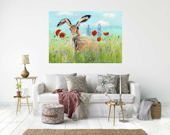 MEADOW HARE,  Canvas Wrap Print From My Acrylic Art - Ready to hang