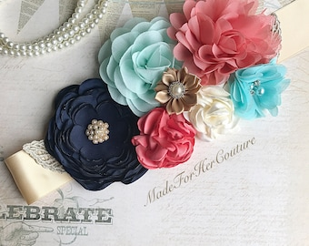 Navy Coral Mint & Gold Flower Sash, Wedding Sash, Bridal Flower Sash Belt, Maternity Sash, Maternity Belt, Matrnity Dress Sash, Rustic Sash