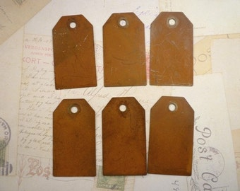 CLEARANCE 6 Rusty Metal Tags