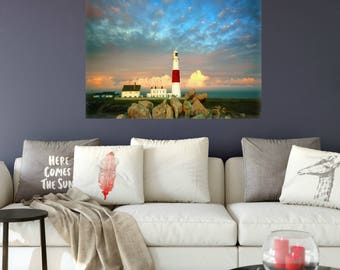 "Lighthouse Canvas Wall Art Gift, Red and White House, Guiding Light Across Rocks, Ocean, 18""x24"", Bridal Shower, Wedding or Housewarming"