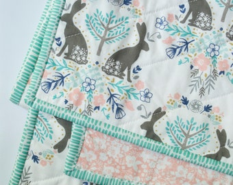 Bunny baby quilt Bunny kids bedding Bunny crib quilt Bunny toddler quilt Stroller blanket Car seat blanket Handmade quilt Modern baby quilt
