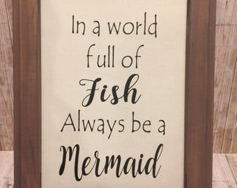 Framed  Mermaid Sign