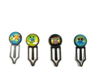 Owl Glass Cabochon  Book Mark, Owl Bookmark, Bookmark