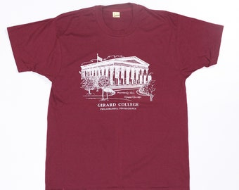 Vintage 80's Girard College Shirt 50/50 Size L Screen Stars Founders Hall Philly