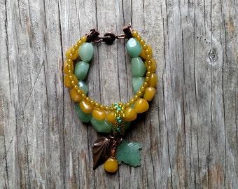 Three Strand Bracelet with Beaded Band & Leaf Dangles - Semi Precious Stones - BOHO