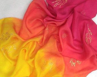 Fire Michaelmas Play Silk ~ Hand Dyed & Hand Painted ~ Waldorf Inspired~