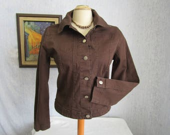 90s 4 French Dressing Stretch Denim Jean Jacket Brown