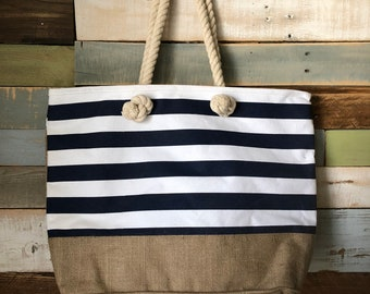 Monogram Tote | Shoulder Bag | Embroidered Tote | Striped Tote | Tote | Personalized Bag | Boat Tote | Beach Bag| Bridesmaid Gift | Gift