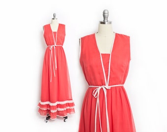 Vintage 1970s Dress - MISS ELLIETTE Coral Cotton Maxi Sleeveless Lace 70s - Small