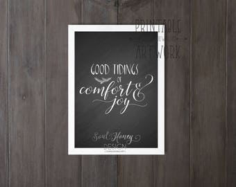 Downloadable Prints | Good Tidings of Comfort and Joy Chalkboard | Christmas Hymn | Printable Art | Print and Frame Art | Instant Artwork