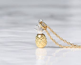 Tiny Pineapple Necklace, Pineapple Pendant, Silver and Gold Pineapple Necklace, Silver and Gold Pendant Necklace, Layering Necklace