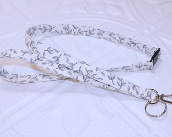 Gray And White Breakaway Safety Lanyard - Badge Holder - Key Lanyard - Teachers Gifts