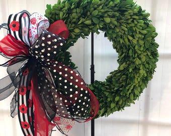 Real boxwood wreath , spring wreath, summer wreath, red poppy