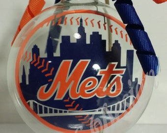 New York Mets Inspired Floating Glass Ball Christmas Ornament