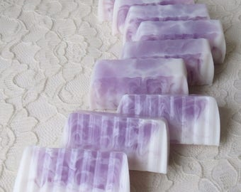 Lavender EO & Vanilla Glycerin Goat Milk Soap Loaf Slices Purple Guest Sz 12 Oz Handmade Gift