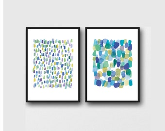 set of 2 abstract paintings blue green, Watercolor paintings set, Nautical beach art, Sea glass art