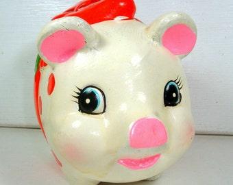 Vintage Chrismas Piggy Bank, Holiday Coin Bank, Child's Savings, Penny Bank, Red Polka Dots, Kitschy, Inarco