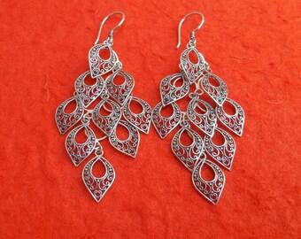 Unique Balinese Silver leaves chandelier Earrings, Ready to ship, earrings, Handmade earrings, chandelier earrings, Nature design