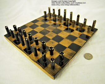 223 / 5.56 bullet shell chess pieces and Optional Rock Maple board #0820160004- Free Shipping to U.S.