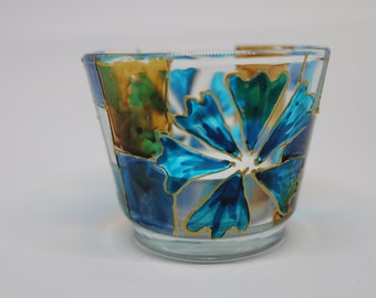 Blue Flower Handpainted Candle Holder