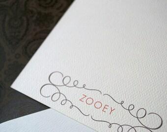 Personalized Stationery Flat Note Set with Elegant Filigree Design
