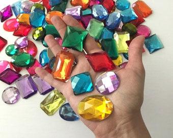 30 large plastic rhinestones flat back