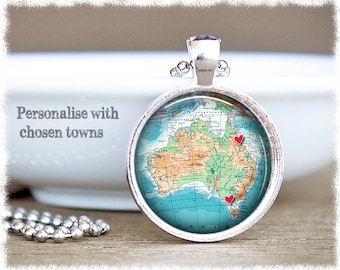 Long Distance Friendship • Custom Map Necklace • Best Friend Gift • Australia Map Pendant • Personalised Jewelry