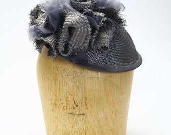 Gray Straw Fascinator Cocktail Summer Hat with Gray Chiffon and Straw Detail- Womens Hats/Millinery/Kate Middleton/Kentucky Derby