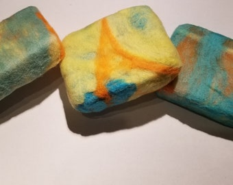 Felted soap, Goat Milk Soap, ready to ship, cold process soap, Best Selling Handmade Soap, sensitive skin, refreshing soap,  Shaving Soap,