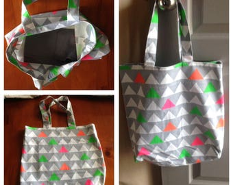Tote bag - Geometric Print Tote bag, 38 cm x 38 cm. Weekend bag, Casual bag, Yoga bag, Beach bag, Gift for her, Reusable shopping bag.