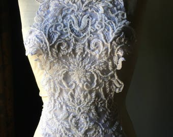 WHITE Applique Beaded for Illusion Gowns, Lyrical Dance, Ballet, Bridal, Costumes
