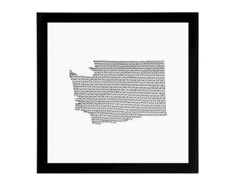 Washington State Love Art Print