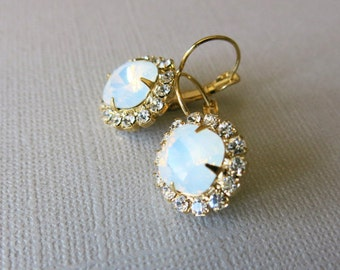 Opal Earrings Bridal earrings Opal Bridal Jewelry Vintage Swarovski Crystal Earrings Dangle Earrings Weddings