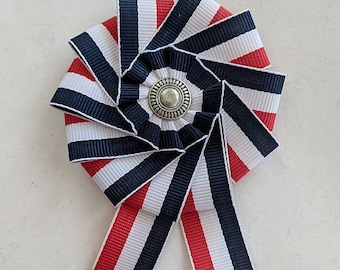 Small Cockade Red White Blue - Patriotic - America Stripes
