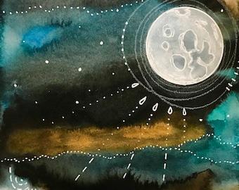 Moon Series #17  11x17 Poster Art Moon Print